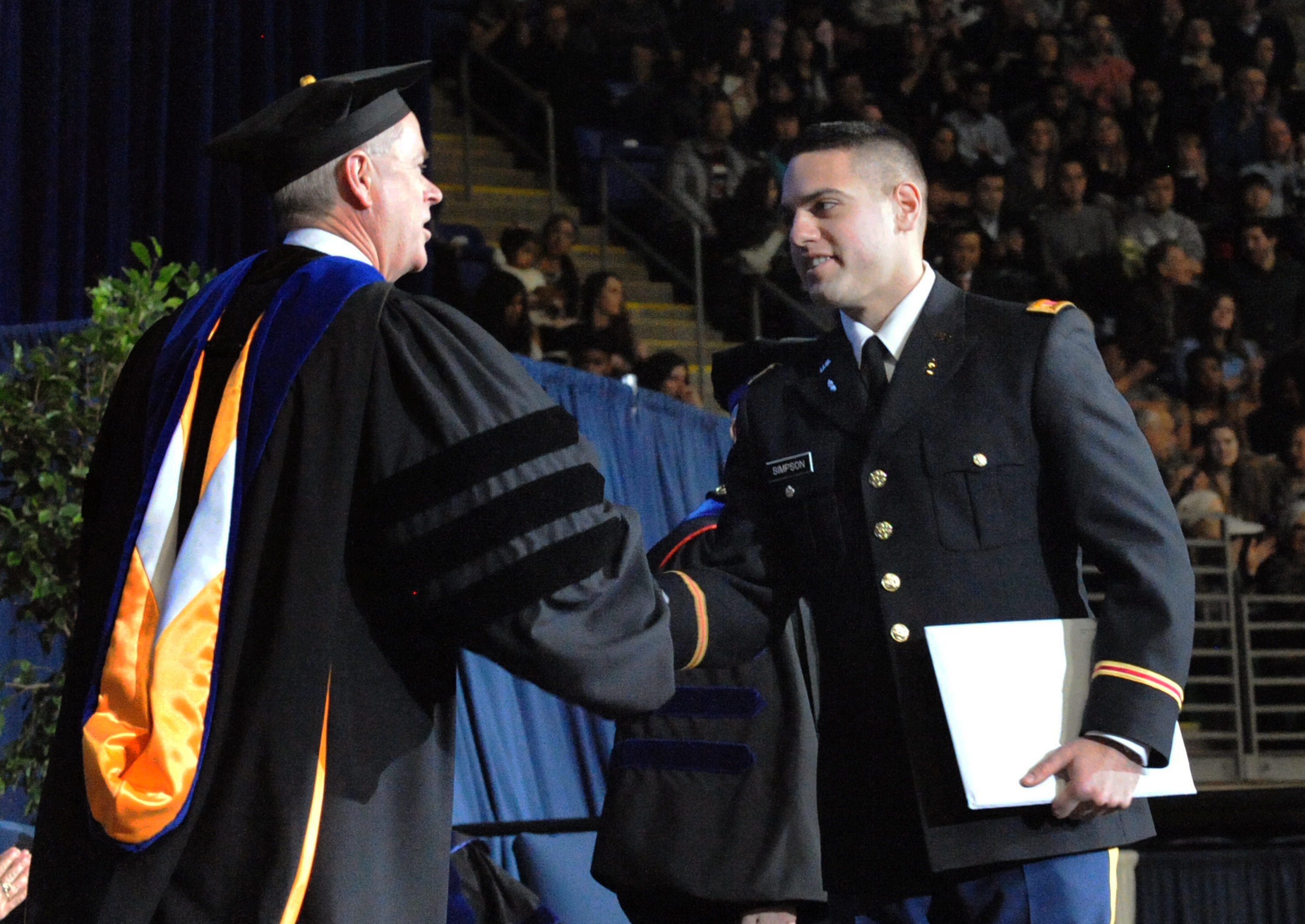 First Lieutenant / Student Marshal Shakes Hands with Vice Provost
